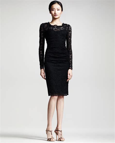 dress black lyst dolce gabbana longsleeve lace dress in black