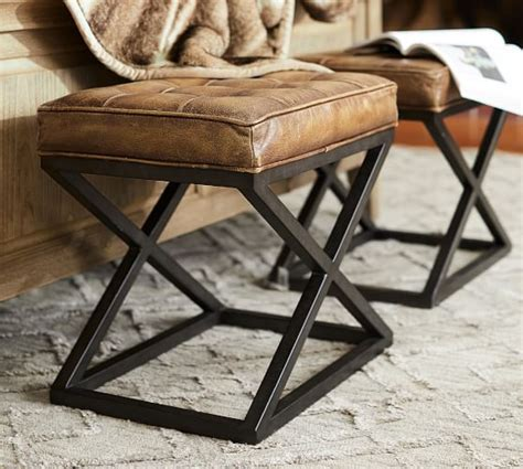 Pottery Barn Leather Stool by Kirkham Tufted Leather Stool Pottery Barn