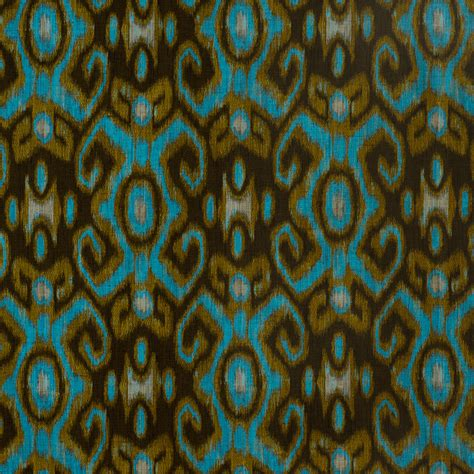 turquoise ikat upholstery metallic gold fabric by