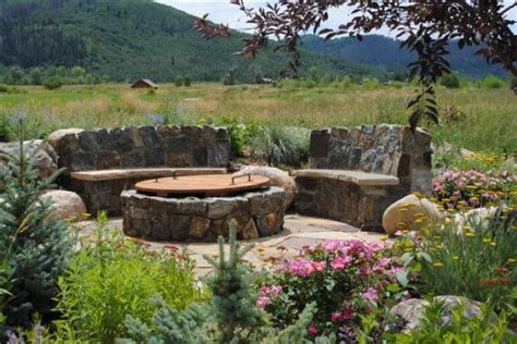 backyard fire pit area sitting area around outdoor fire pit the lawn lady