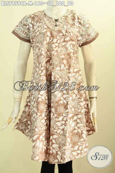 California Kancing baju atassan batik wanita blus batik keren model tanpa krah dengan kancing depan motif bagus