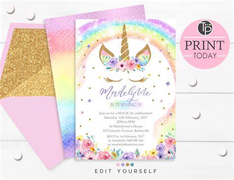 Rainbow Unicorn Invitation Editable Template Edit At Home Unicorn Birthday Invitations Template