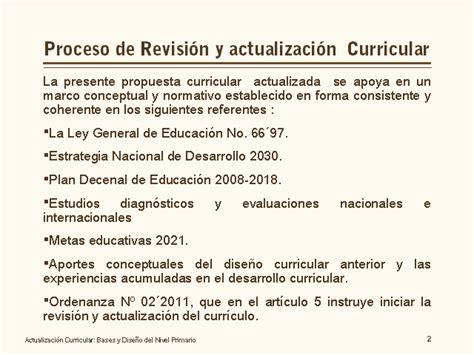 Diseño Curricular Nacional Concepto Actualizaci 243 N Curricular Bases Y Dise 241 O Nivel Primario Monografias