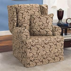 walmart chair slipcovers sure fit scroll brown wing chair slipcover walmart