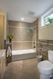 brown brick looking tile with tub and shower combo