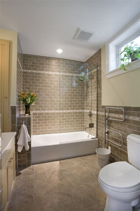 combined shower and bathtub brown brick looking tile with tub and shower combo