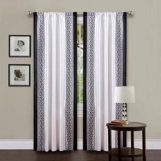 white black curtains window treatments white faux linen drapes with greek key