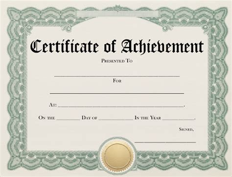 certificate of accomplishment template certificate of achievement