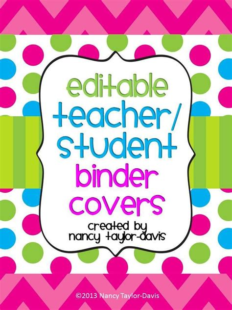 editable binder cover templates editable or student binder covers three color