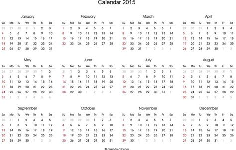 2015 yearly calendar template in landscape format 3 2015 yearly calendar free
