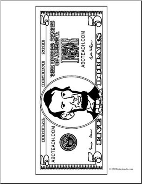 coloring page 5 dollar bill clip art five dollar bill outline front coloring page i