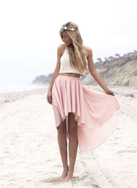 pastel pink high low hem skirt sleeveless turtleneck tank