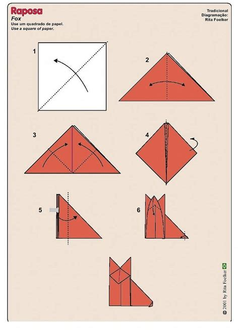 How To Make A Paper Fox - pin simple origami fox on