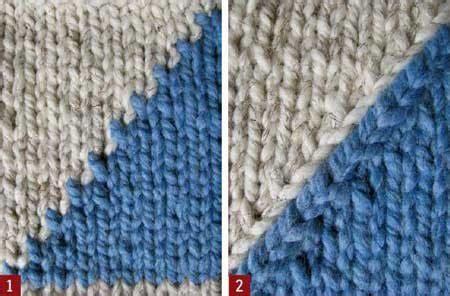 intarsia knitting in the intarsia knitting smooth the jagged edge interweave