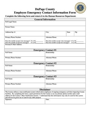 136 Printable Employee Emergency Contact Form Templates Fillable Sles In Pdf Word To Emergency Information Form Template