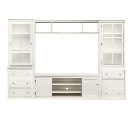 pottery barn media cabinet white logan media suite with drawers and glass towers bridge