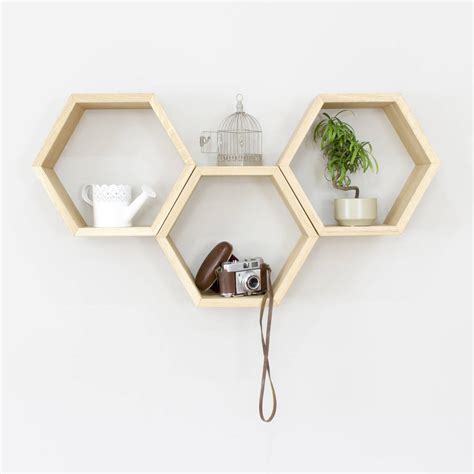 hexagon wall shelves set of three by bespoak interiors