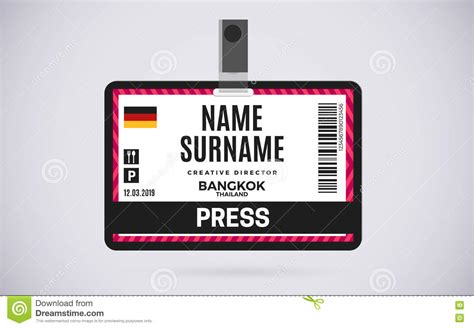 convention name card template press id card plastic badge vector design illustration