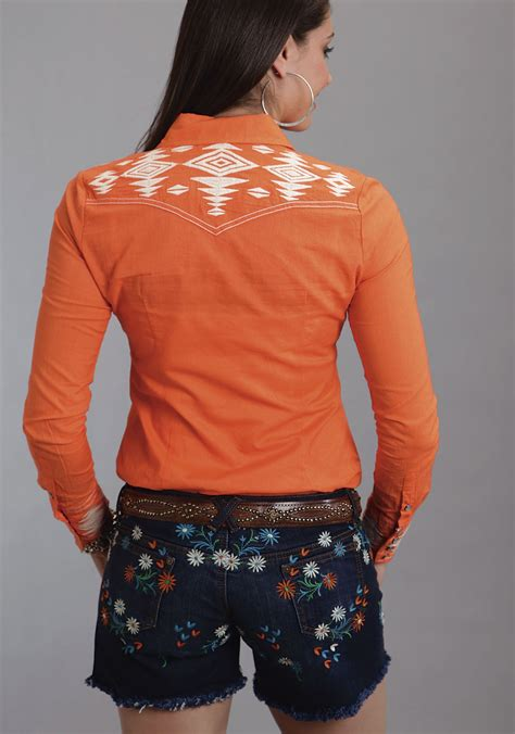 stetson womens orange embroidered cotton long sleeve snap western shirt