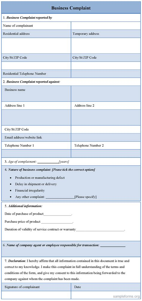 business compliant form sle forms