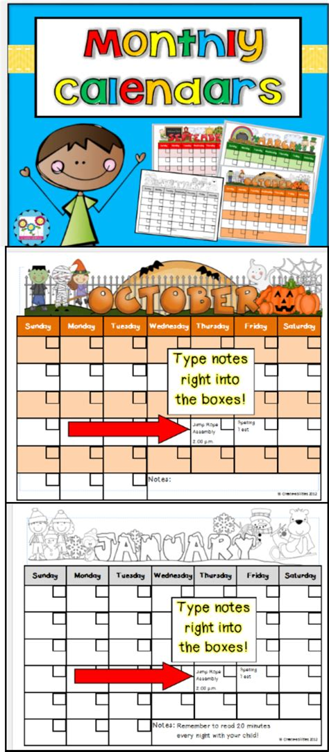 monthly calendar templates editable firstgradefaculty