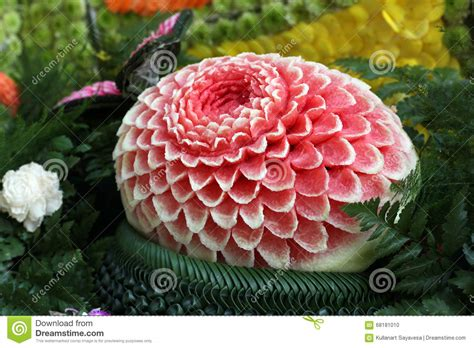 Decorative Watermelon Cutting by Watermelon Carving Stock Photo Image 68181010