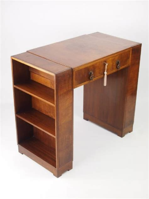 Small Art Deco Walnut Desk With Bookcase Sides 305151 Small Desk Bookshelf