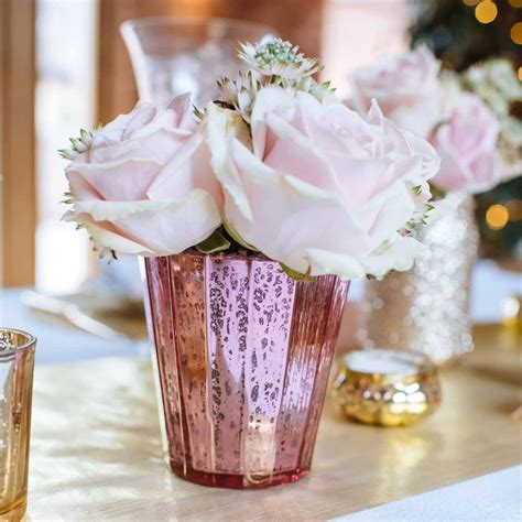 Pink Mercury Glass Vase by Ribbed Mercury Glass Vase Or Votive Pink The Wedding Of