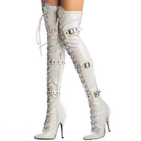 white thigh high boots boots shoes