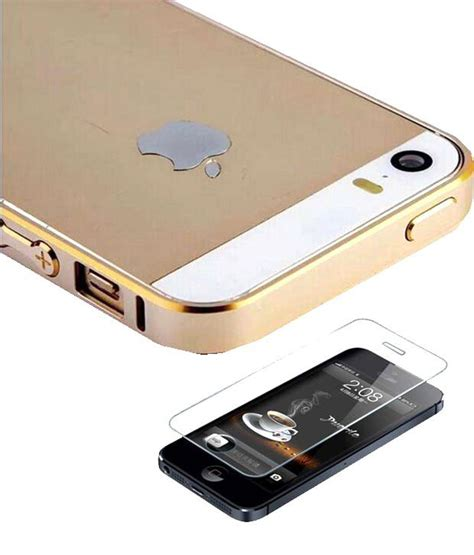 Tempered Glass Gold Iphone 4 fcz combo of gold metal bumper and tempered glass for