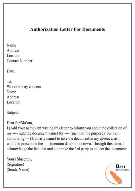 authorization letter process documents sample