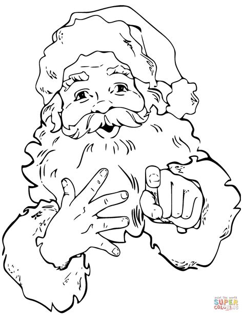 santa claus coloring page santa claus is pointing finger coloring page free