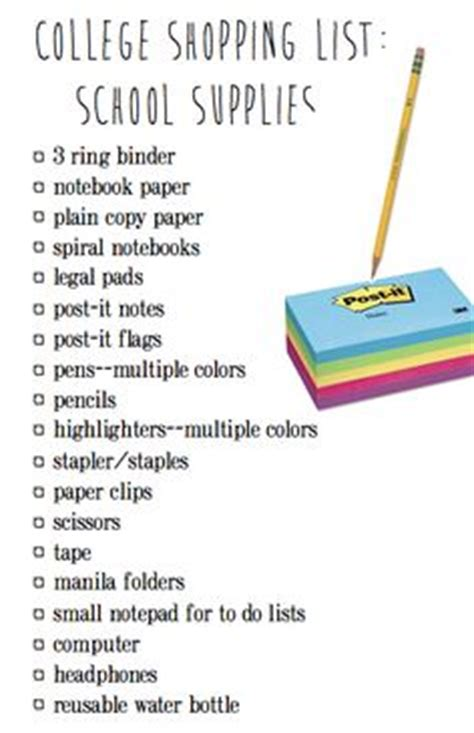 Office Supplies Needed For College 1000 Ideas About College School Supplies On