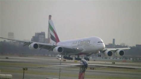emirates jfk emirates a380 landing at new york jfk kjfk youtube