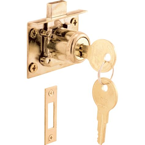 locking drawer slides lowes shop gatehouse brass die drawer and cabinet lock at