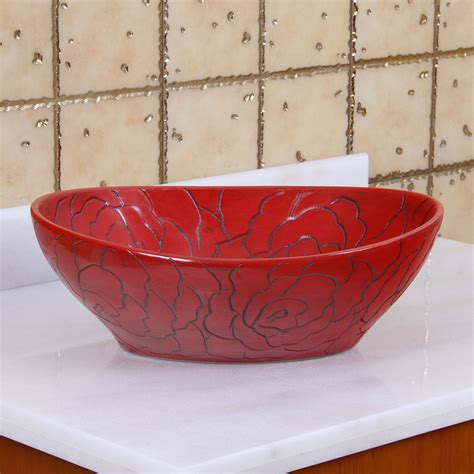 red vessel bathroom sinks elite 1557 oval red rose porcelain ceramic bathroom vessel