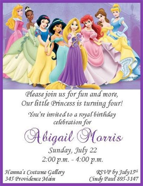 disney princess invites printable disney princesses personalized birthday invitations