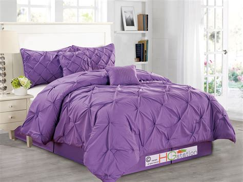 purple ruched comforter 6 pc diamond ruched pinched pleated ruffled pintuck