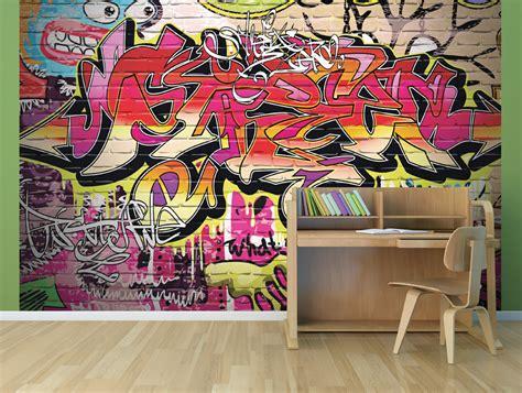 colourful graffiti city street art wall mural