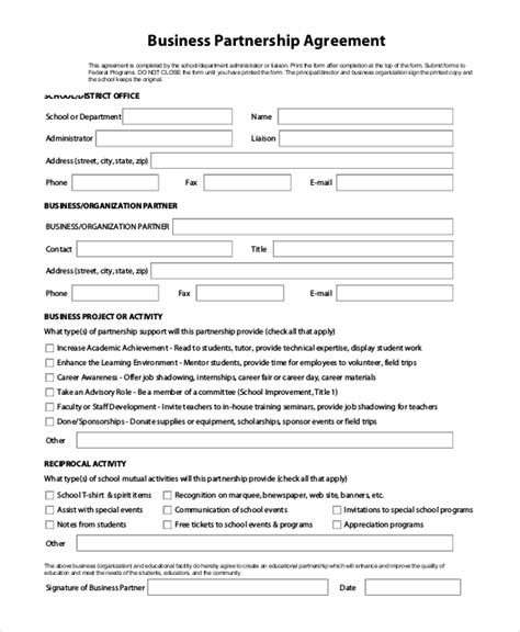 9 Sle Business Forms Sle Templates Partnership Agreement Form Template