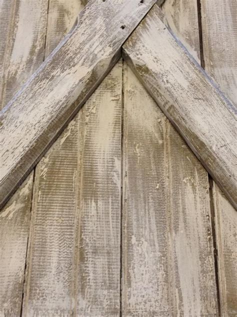 Barn Door Effect Upclose Photo Of The White Wash Distressed Finish On The