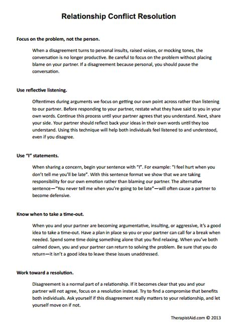 Conflict Resolution Worksheets For Adults by Relationship Conflict Resolution Preview