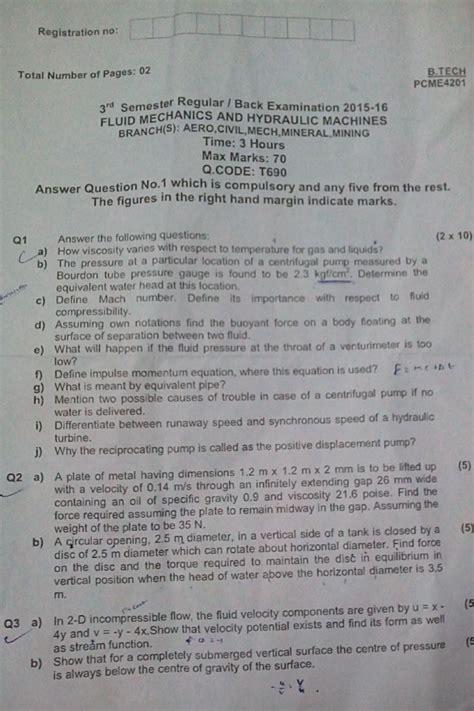 Bput Mba Question Papers 2015 by Bput Fluid Mechanics And Hydraulic Machines Btech Civil