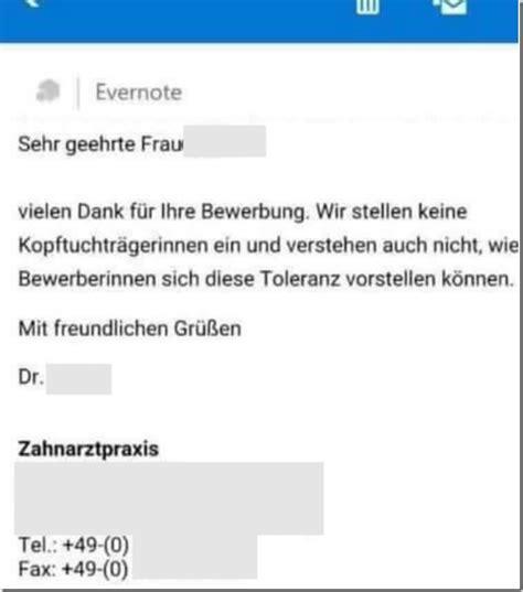 Absage Bewerbung Wegen Zu Hoher Gehaltsvorstellung Bewerbungsabsage Wegen Kopftuch 246 Ffentliche Erkl 228 Rung Des