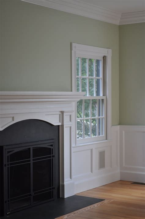 New Wainscoting by New Wainscot And A Traditional Mantel Www Riverviewcompany
