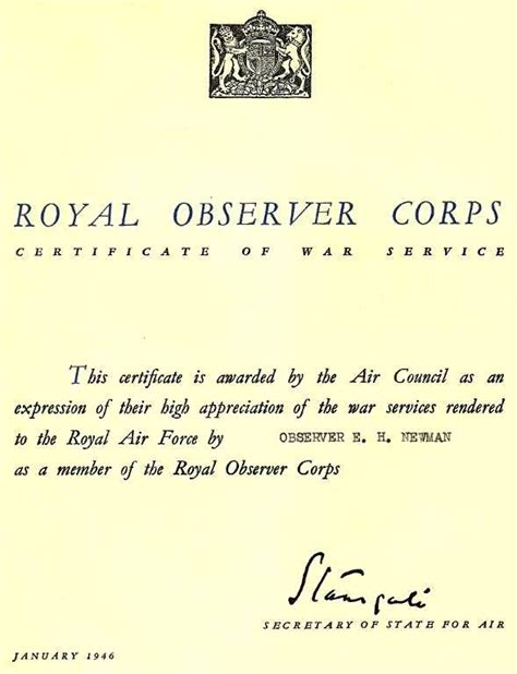 file royal observer corps certificate jpg wikipedia
