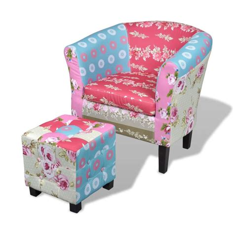 Patchwork Chairs - patchwork chair upholstered armrest with foot stool www
