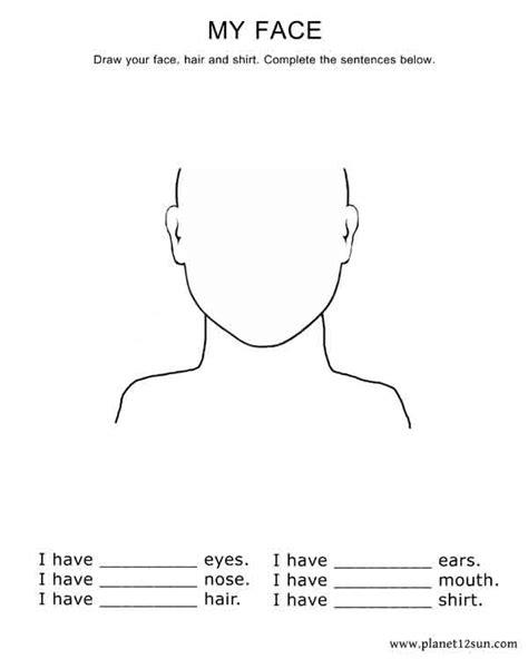 kindergarten activities my face draw your face complete the sentences kindergarten 1st