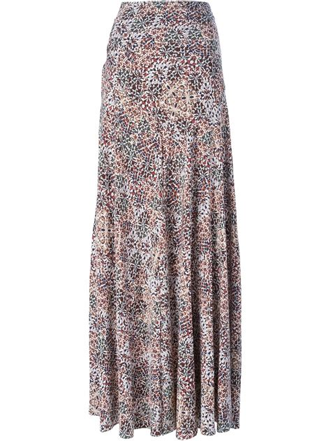 burch floral print maxi skirt in multicolor pink