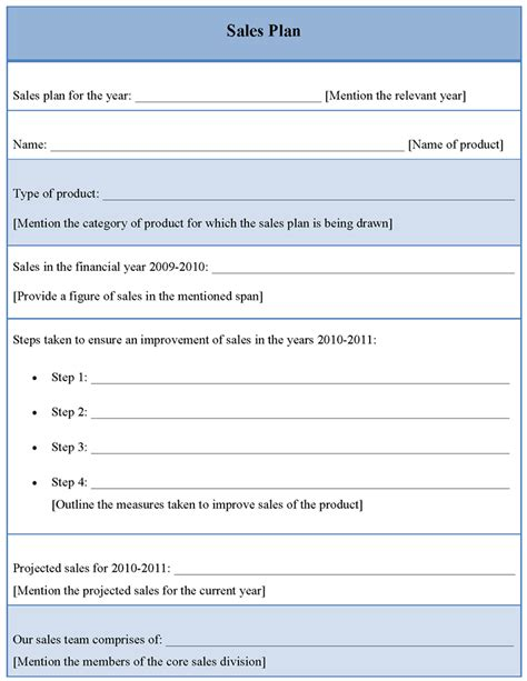 individual sales plan template plan template for sales sle of sales plan template